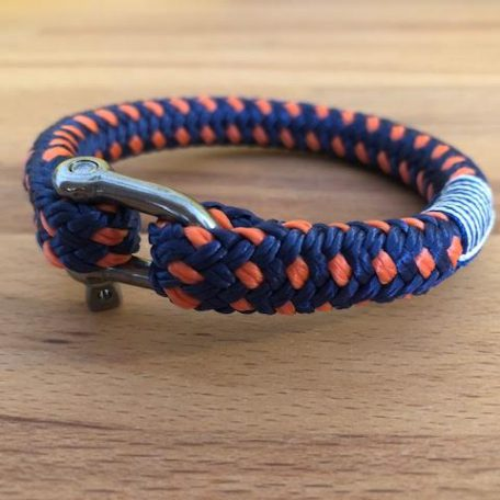 Dock orange handgemaakte armband in navy en orange van De Vintageloods